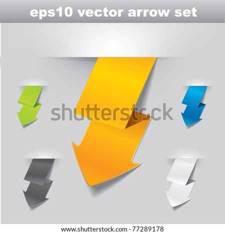 Modern vector lightning shaped arrow set in different color variations