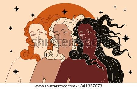 Modern vector line art Illustration or the Venus or Aphrodite Goddess  in doodle sketch style. Diverse women of different ethnicity and appearance. Poster about Feminism and Woman Power issues.