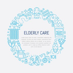 Modern vector line icon of senior and elderly care. Medical poster template with illustration  of old people, wheelchair, leisure, hospital call button. Linear banner with editable stroke.