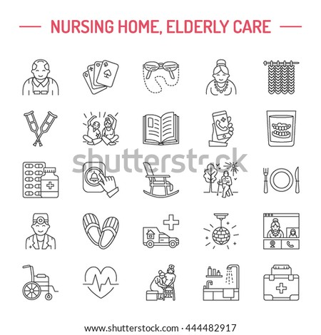 Modern vector line icon of senior and elderly care. Nursing home elements - old people, wheelchair, leisure, hospital call button. Linear pictogram with editable stroke for sites, brochures.
