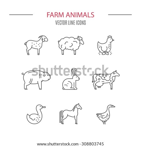 Modern vector linear set of farm animals drawn in modern linear style. Farming icons. Animal symbols. Line series.