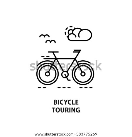 Modern vector logo for bicycle touring isolated on white. Design concept for eco tourism and bicycle shop in line style