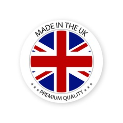 Modern vector Made in the UK label isolated on white background, simple sticker with British colors, premium quality stamp design, flag of Britain