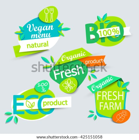 Modern vector set of healthy organic food labels, tags, emblems, logo for meal and drink,cafe, restaurants and organic products packaging. Vector illustrated.