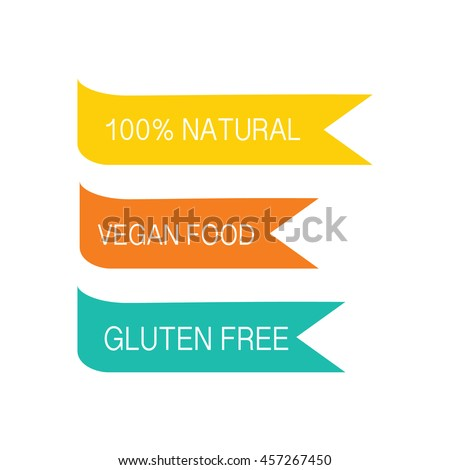 Modern vector set of healthy organic food labels, tags, emblems, logo for meals, drinks and packaging products. Vector illustrated.