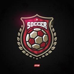Modern vector soccer winner gold shield emblem with olive branch
