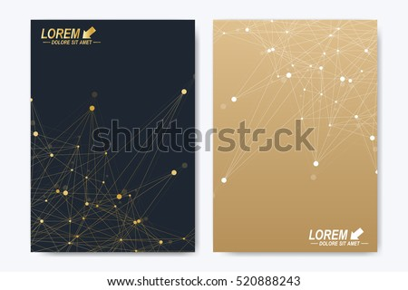 Modern vector template for brochure Leaflet flyer advert cover magazine or annual report. A4 size. Business, science, medical design book layout. Golden cybernetic dots. Lines plexus. Card surface