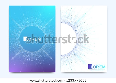 Modern vector template for brochure, leaflet, flyer, cover, banner, catalog, magazine, or annual report in A4 size. Futuristic science and technology design. Presentation with mandala. Lines plexus.