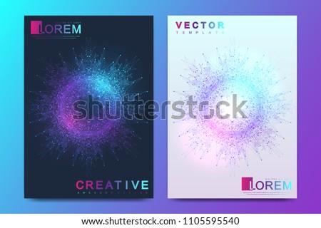 Modern vector template for brochure Leaflet flyer cover banner magazine or annual report. A4 size. Business, science, medicine, technology design book layout. Abstract presentation with  mandala