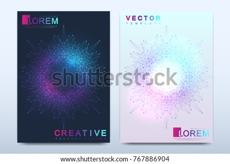 Modern vector template for brochure, leaflet, flyer, cover, catalog, magazine or annual report in A4 size. Business, science and technology design book layout. Presentation with mandala. Card surface
