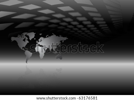 Modern vector  world map and news background - World map vector illustration on reflective surface