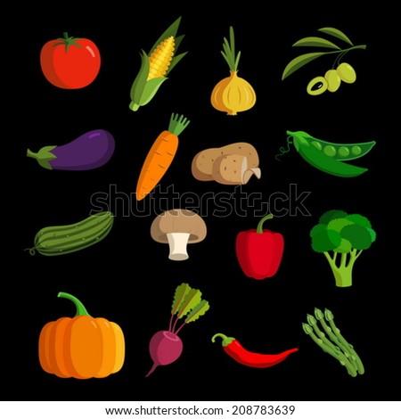 Modern vegetable vector icon set