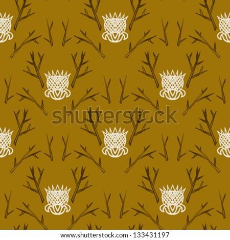 Modern version of damask pattern in organic colors.