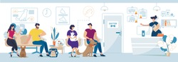 Modern Veterinary Clinic Visitors with Animals Flat Vector. People with Dogs and Cats, Pets Owners Waiting for Doctor Appointment, Administrator or Nurse Registering Clients on Reception Illustration