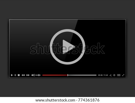 Modern video frame. Video player interface mokup or UI for web. Vector illustration