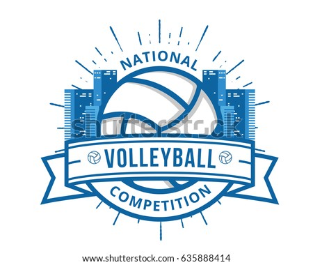 Modern Volleyball Logo - Urban Cityscape Volleyball Badge