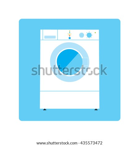 Modern Washing machine Isolated on blue background. Vector