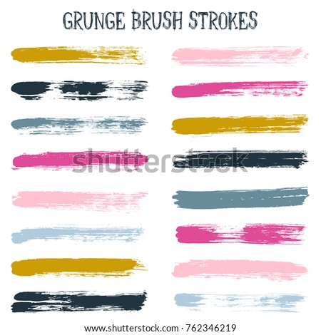 Modern watercolor daubs set, paint brush stroke grunge collection, cool ink stains band. Graphic design color scheme samples. Paintbrushes, paint or ink traces, watercolor splashes design elements.
