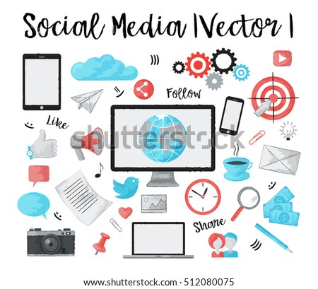 Modern watercolor design vector illustration, set of social media, online news and blogging objects, for graphic and web design