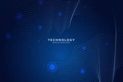 Modern wave line technology background with abstract big data digital concept. Circuit with gradient dots and lines. artificial intelligence. Vector illustration