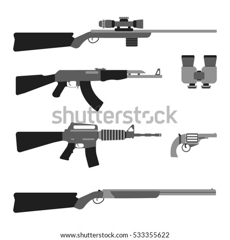 modern weapons set flat style