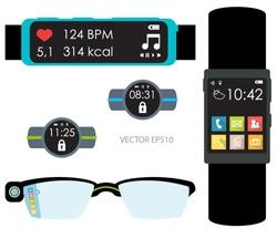 Modern wearable technology illustration isolated