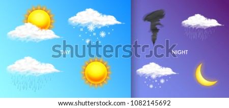 Modern weather icon set. Meteorology symbols. Color Vector illustration for mobile app, print or web. Thunderstorm and rain, clear and cloudy, storm and snow.