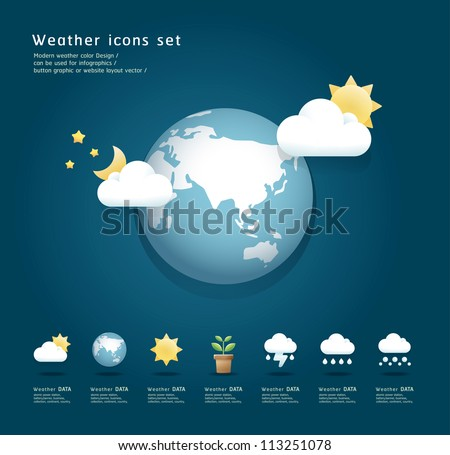 Modern weather icons color Design / can be used for infographics / button graphic or website layout vector - stock vector