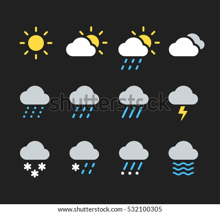 modern weather icons set flat
