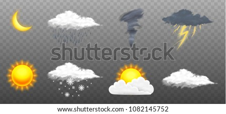 Modern weather icons set. Meteorology symbols on transparent background. Color Vector illustration for mobile app, print or web. Thunderstorm and rain, clear and cloudy, storm and snow.
