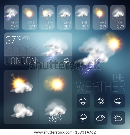 Modern Weather symbols and Interface design. Vector illustration.
