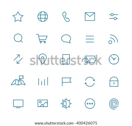 Modern web and mobile application pictograms collection. Line art interface icons set