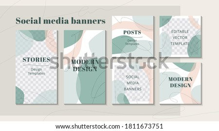 Modern web banner for social media mobile apps, organic design in pastel colors. Stylish social media posts, story and photos. Editable templates with space for text. Vector Illustration