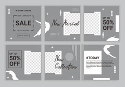 Modern web banner for social media mobile apps, puzzle design in grey pastel colors. Editable templates for new arrival product. Super big sale. Vector illustration with placeholder for photos.