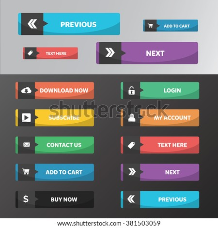 Modern web buttons flat design with circle style and arrow