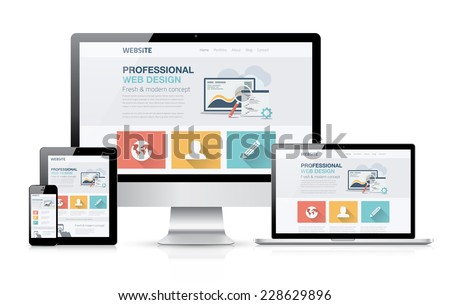 Modern web design concept. Flat vector illustration mock up.