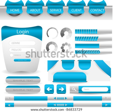 modern web designing element in blue theme easy to edit vector