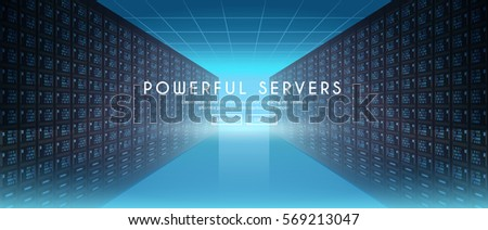 Modern web network and internet telecommunication technology, big data storage and cloud computing computer service business concept. Server room. Vector web banner. #2