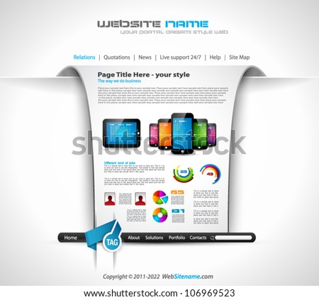 Modern web templave with paper style background and transparent shadows. Ideal for business website with a lot of design elemenets.