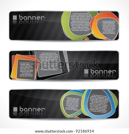 Modern website banner set with speech balloons, black design with reflection