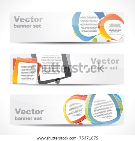 Modern website banner set with speech balloons in different shapes