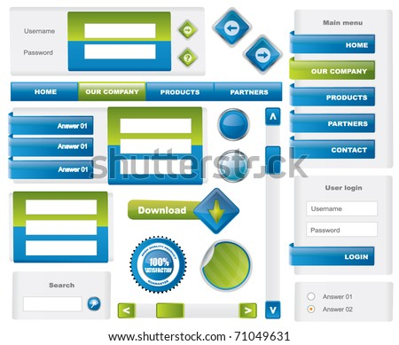 Modern website template elements - blue and green #71049631