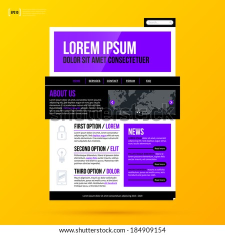 Modern website template on bright yellow background in modern corporate style. EPS10