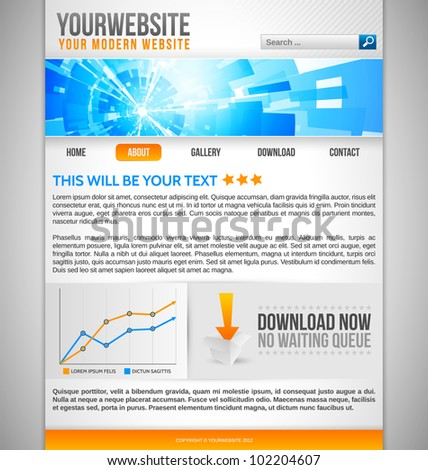 Modern Website Template with blue abstract banner