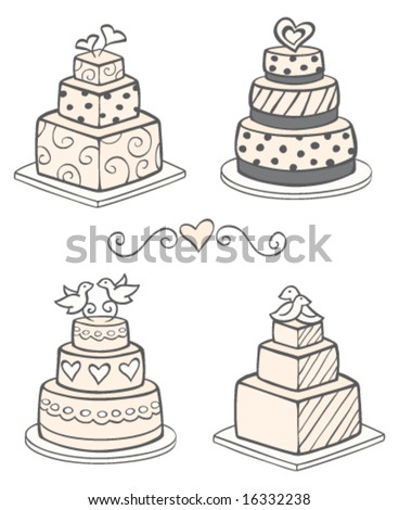 Modern Wedding Cakes - stock vector