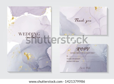 Modern wedding invitation alcohol ink design. Vector set on watercolor ink splash ink violet grey colors. Purple acrylic marble liquid design .