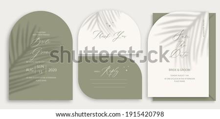Modern wedding invitation, burnt green wedding invitation template, arch shape with palm leaf shadow and handmade calligraphy. Zdjęcia stock ©