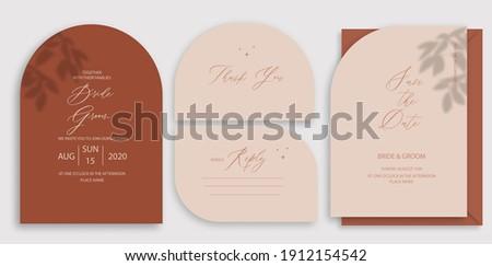 Modern wedding invitation, burnt orange wedding invitation template, arch shape with leaf shadow and handmade calligraphy. Zdjęcia stock ©