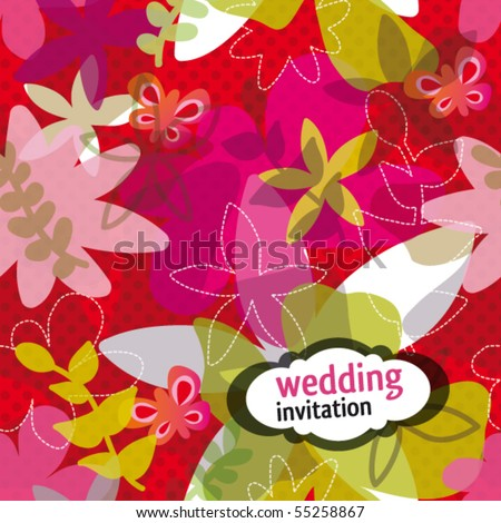 stock vector Modern wedding invitation design with flower pattern in