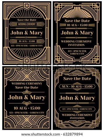 Modern wedding invitation vector mockup in classic art deco retro style